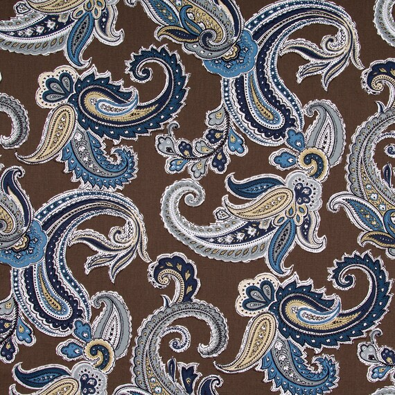 Navy Blue Paisley Cotton Upholstery Fabric Blue Brown Etsy