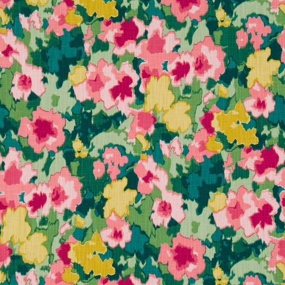 Green Pink Floral Upholstery Curtain Fabric By The Yard Etsy
