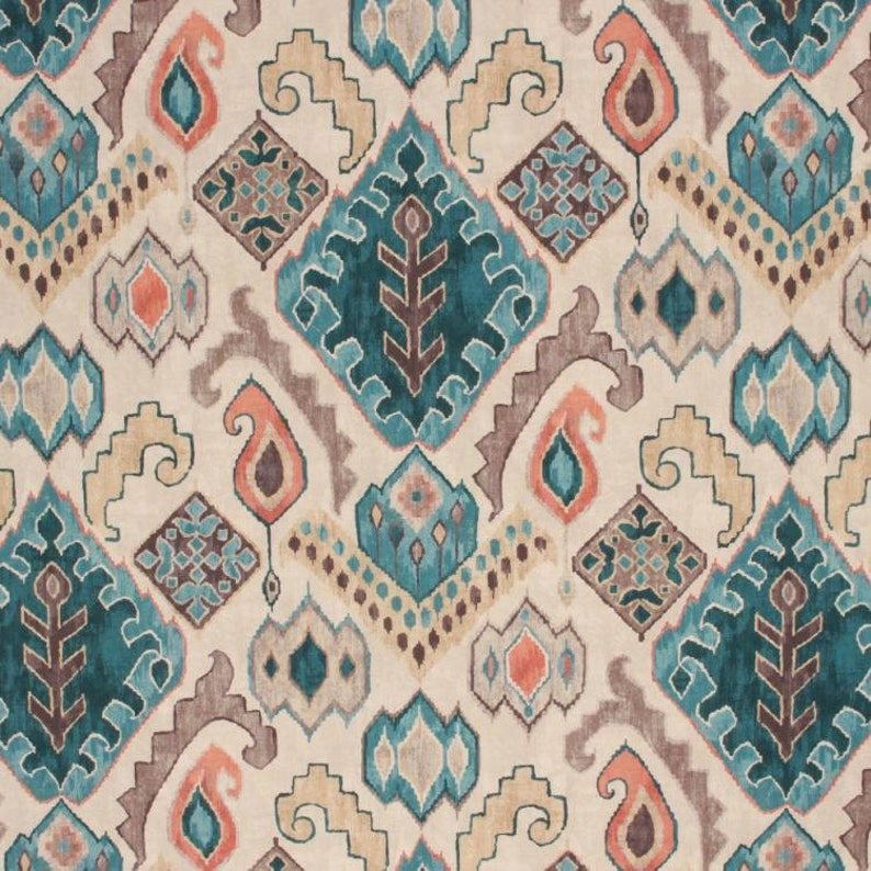 Teal Coral Ikat Upholstery Fabric Modern Taupe Aqua Navajo Etsy