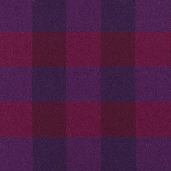 Dark Purple Plaid Wool Upholstery Fabric Modern Fuchsia Etsy