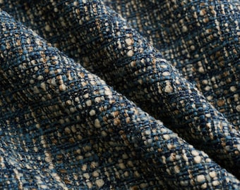 Dark Blue Woven Upholstery Fabric for Furniture - Navy Blue Tweed Durable Fabric - Blue Taupe Woven Furniture Fabric