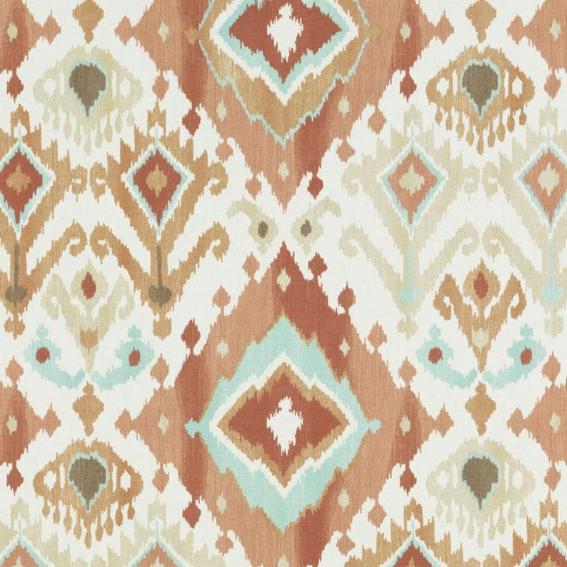 Orange//Beige//Taupe//Ivory Drapery Upholstery Fabric Cotton Screen-Printed Ikat