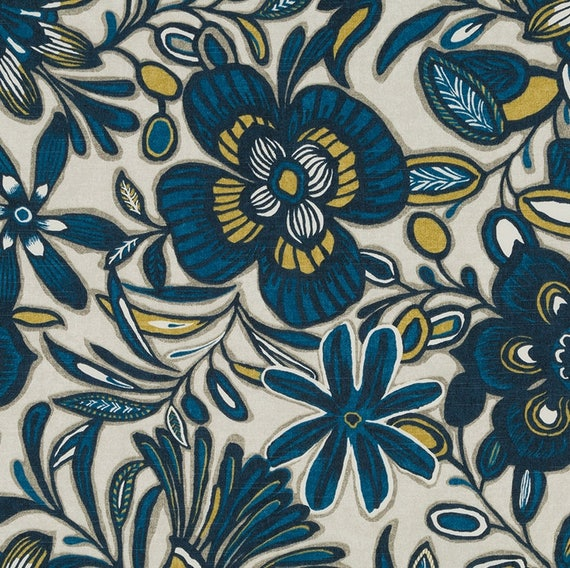 Blue Gold Floral Upholstery Fabric Custom Navy Blue Gold Etsy