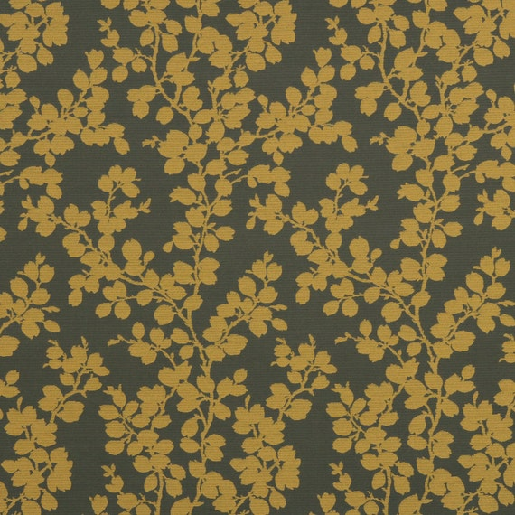 Mustard Yellow Floral Upholstery Fabric Dark Gold Etsy