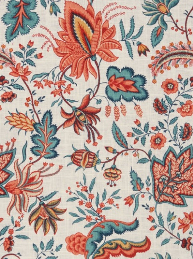 Red Teal Floral Home Decor Fabric Blue Upholstery