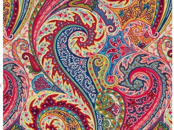 Paisley Linen Fabric Modern Paisley Upholstery Fabric By The Etsy