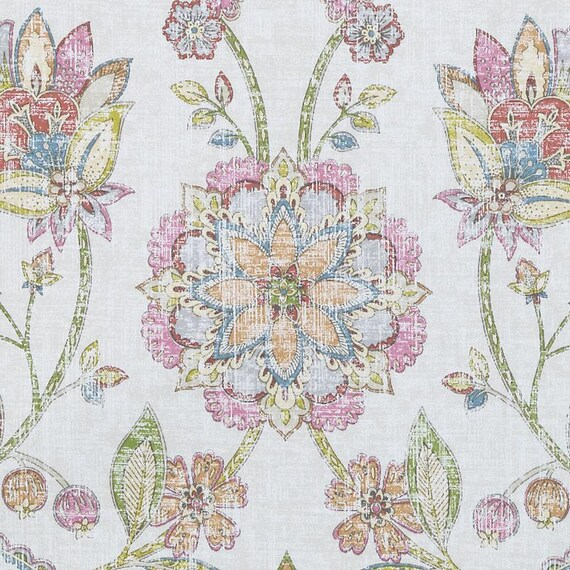 Pink Blue Floral Upholstery Fabric Large Scale Floral Drapery Fabric Modern Pink Green Pillows Custom Floral Roman Shades And Curtains