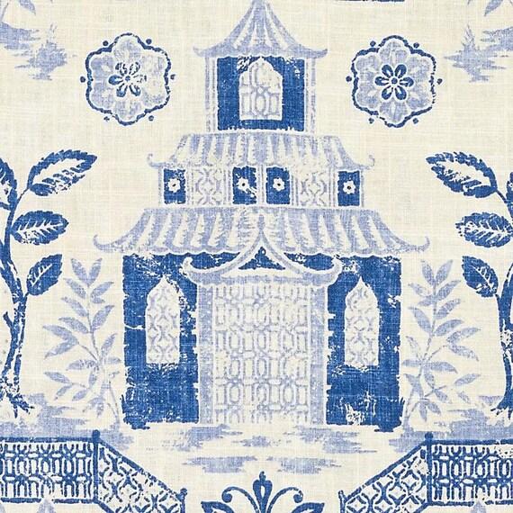 Navy Blue Asian Toile Linen Upholstery Fabric Custom Modern Etsy