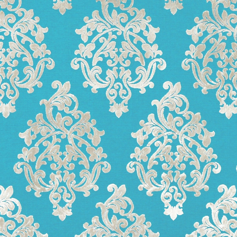 Turquoise Velvet Damask Upholstery Fabric  Modern Raised image 0