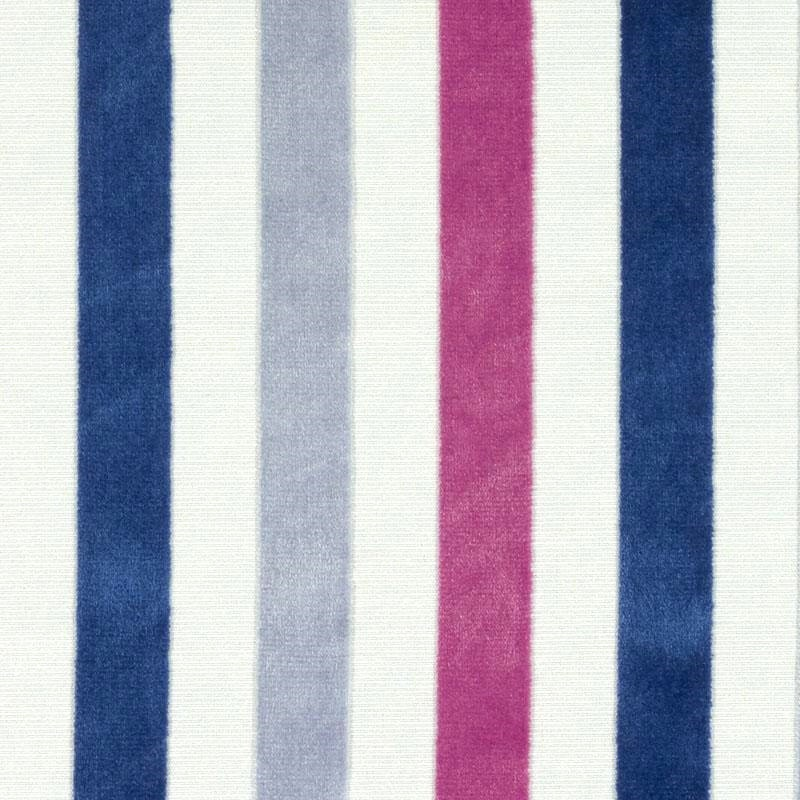 Blue Pink Stripe Velvet Upholstery Fabric By The Yard Modern Etsy