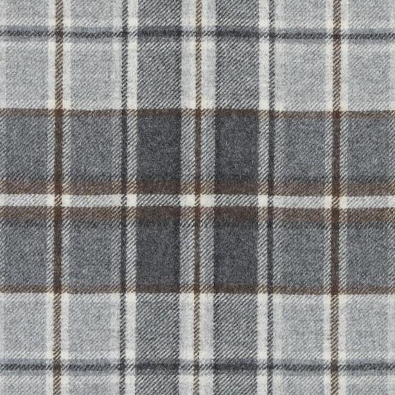 Grey Wool Plaid Upholstery Fabric Modern Dark Grey Brown Etsy
