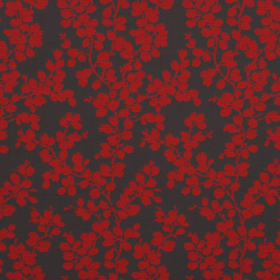 Red Grey Floral Upholstery Fabric For Furniture Bright Red Etsy