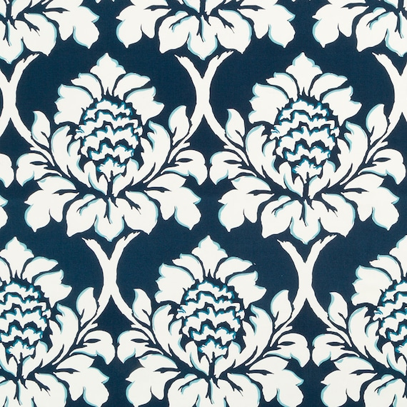 Navy Blue Floral Upholstery Fabric By The Yard Large Scale Etsy