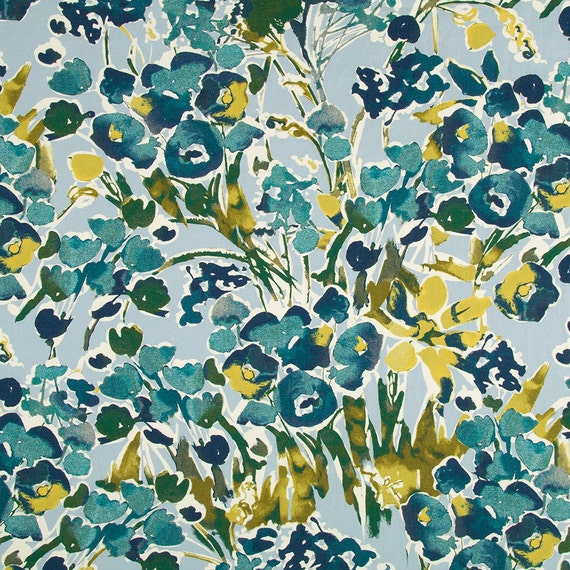 Navy Blue Floral Upholstery Fabric Digital Print Fabric Etsy