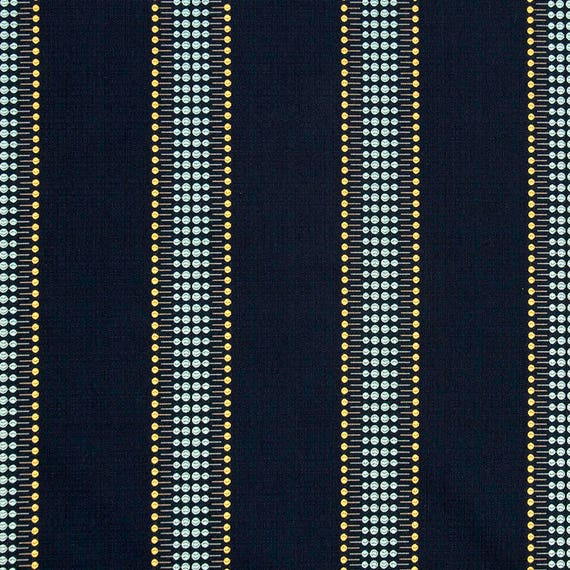 Blue Yellow Striped Upholstery Fabric Orange Grey Fabric For Etsy