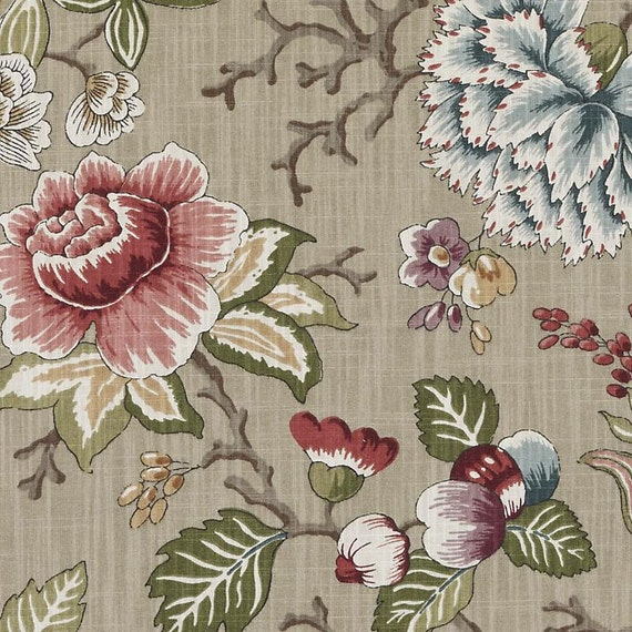 Sage Green Floral Upholstery Drapery Fabric Pink Green Etsy