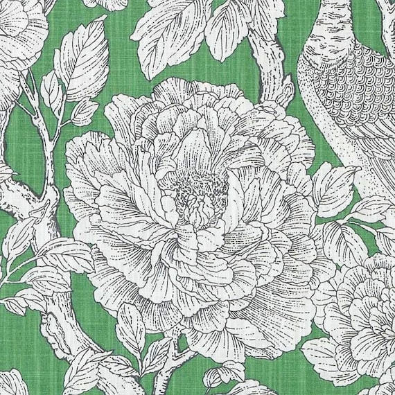 Emerald Green Floral Fabric Black White Floral Upholstery Etsy
