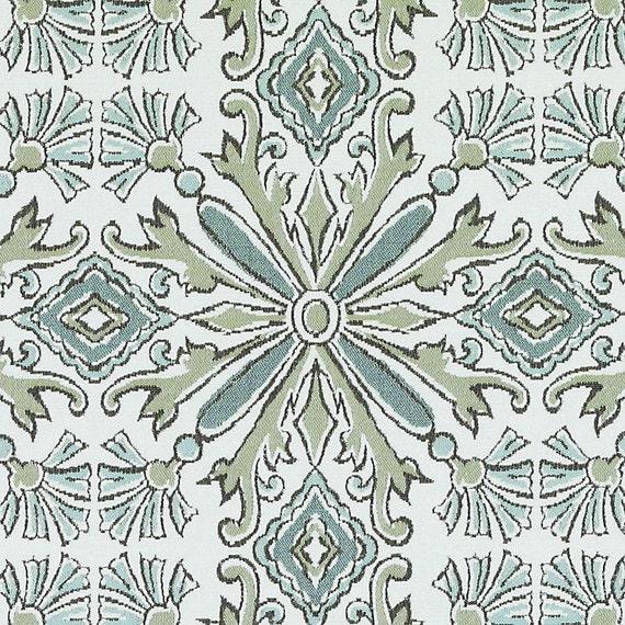 Modern Teal Lime Green Upholstery Fabric Medallion Pillow Etsy