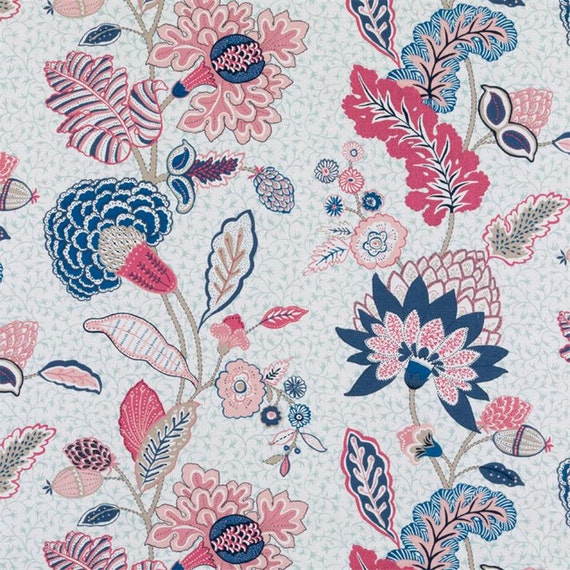Pink Blue Floral Fabric Modern Navy Blue Floral Upholstery Etsy