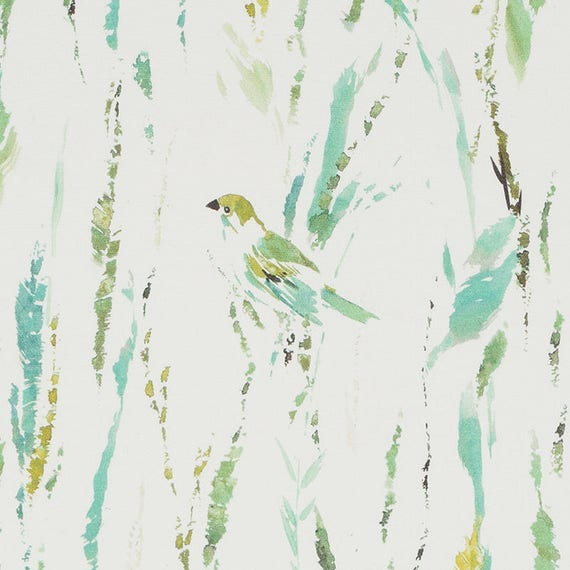 Turquoise Bird Upholstery Fabric Lime Green Fabric With Bird Etsy