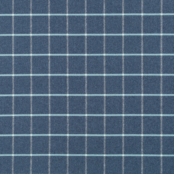 Navy Blue Large Scale Plaid Upholstery Fabric Dark Blue Wool Etsy