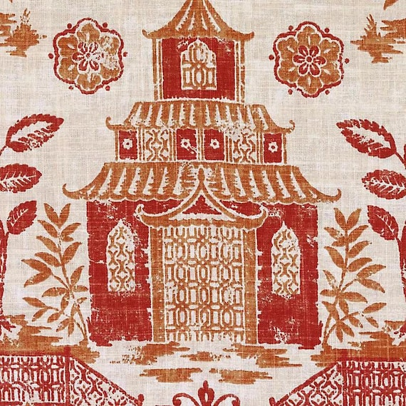 Coral Orange Asian Toile Linen Upholstery Fabric Modern Etsy