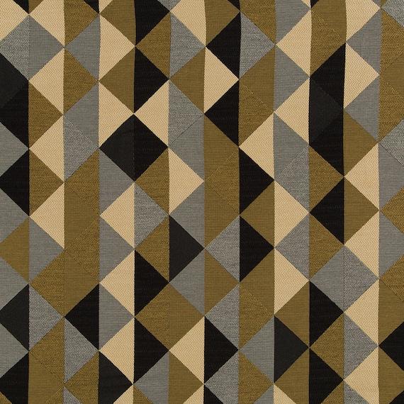 Gold Silver Upholstery Fabric Modern Metallic Geometric Etsy