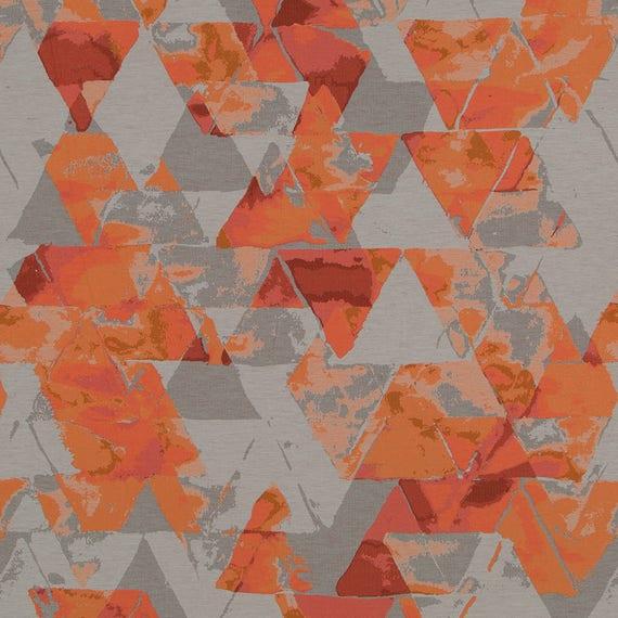 Orange Grey Upholstery Fabric Modern Coral Geometric Etsy