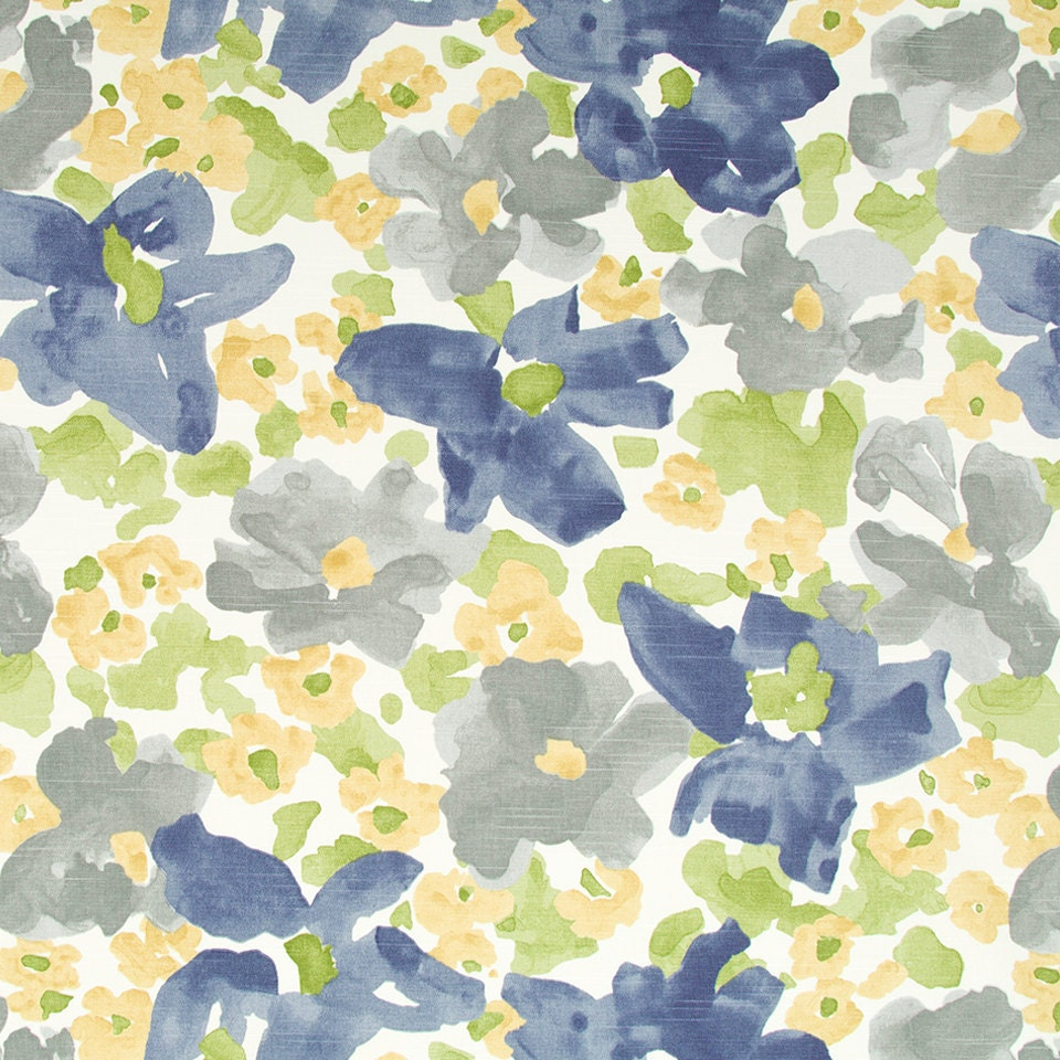 Grey Yellow Upholstery Fabric Abstract Grey Blue Floral Etsy