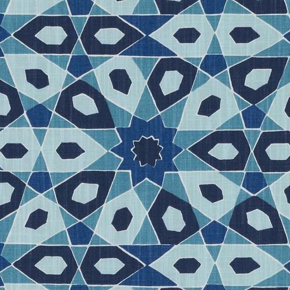 Peacock Blue Geometric Upholstery Fabric Modern Navy Blue Etsy