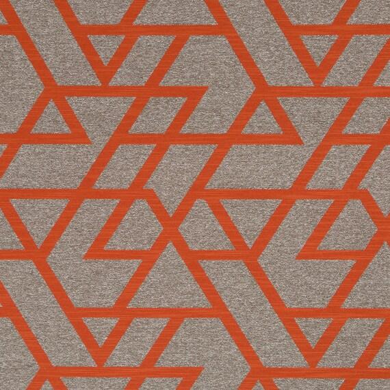 Orange Geometric Upholstery Fabric Taupe Home Decor Fabrics Etsy