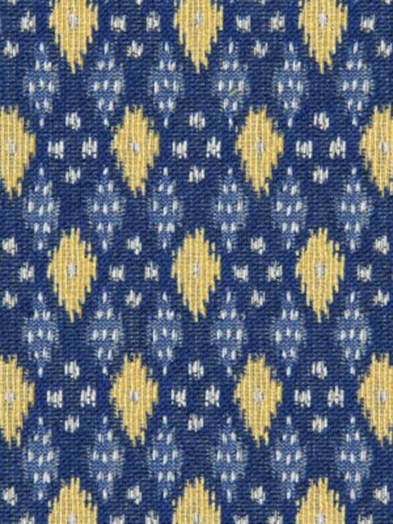 Blue Yellow Woven Ikat Upholstery Fabric Cobalt Blue Etsy