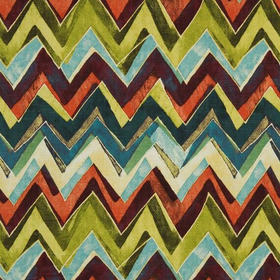 Modern Orange Teal Chevron Upholstery Fabric On Sale Etsy