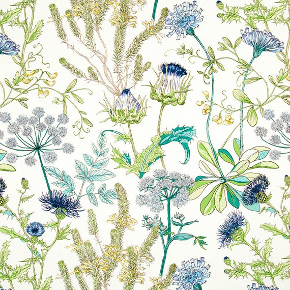 Teal And Navy Blue Upholstery Fabric Green Yellow Floral Etsy