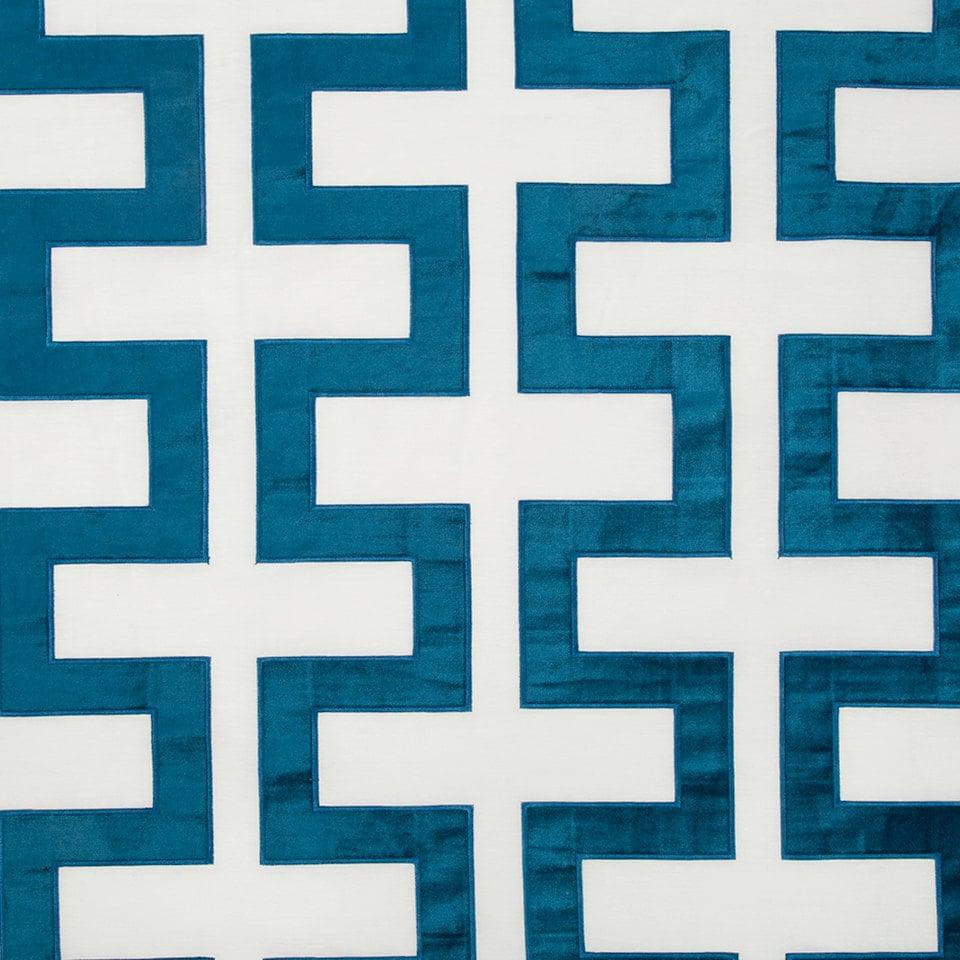 Peacock Blue Geometric Velvet Upholstery Fabric Modern Blue Etsy