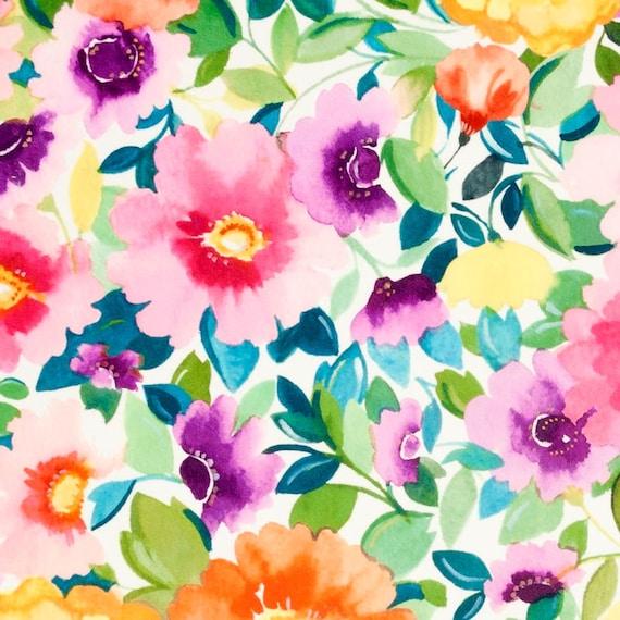 Digital Print Floral Velvet Upholstery Fabric Modern Teal Etsy