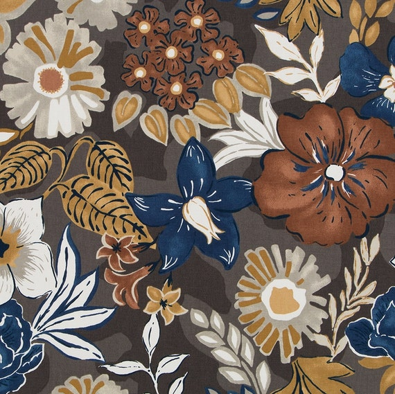 Navy Blue Floral Upholstery Fabric Copper Navy Upholstery Etsy