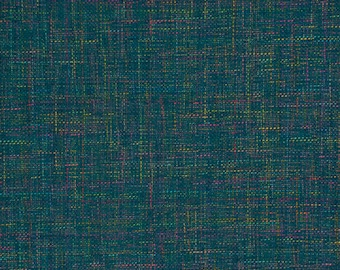 Teal Upholstery Fabric by the Yard - Modern Dark Teal Textured Fabric for Furniture - Teal Pink Woven Furniture Fabric