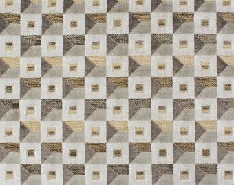 Grey Velvet Upholstery Fabric - Ivory Velvet Fabric for Furniture - Taupe Brown Geometric  Velvet for Pillows and Headboards
