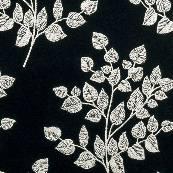 Contemporary Black White Floral Upholstery Fabric For Etsy