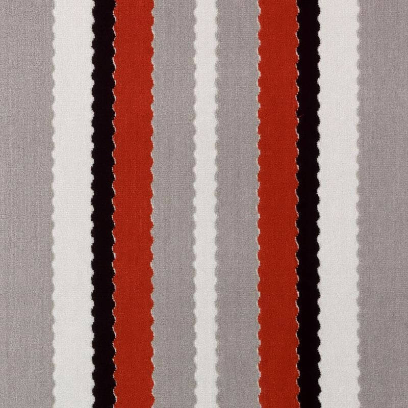 Red Grey Velvet Stripe Upholstery Fabric Modern Black White Etsy