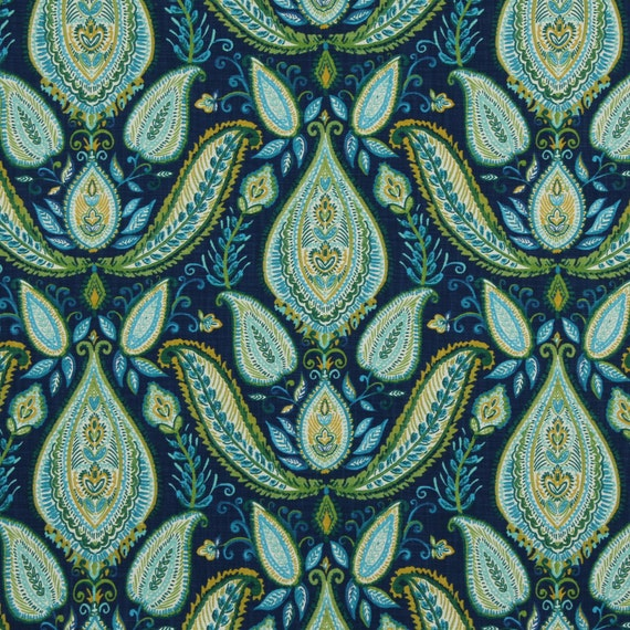 Peacock Blue Paisley Fabric Woven Cotton Upholstery Modern Etsy