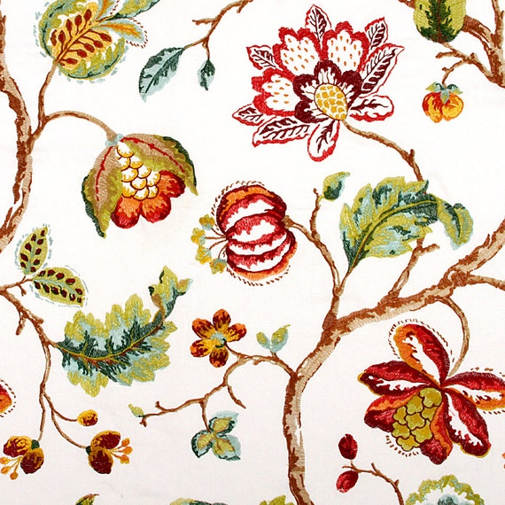 Red Floral Fabric Embroidered Drapery Fabric Custom Red Etsy