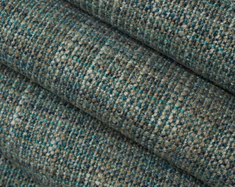 Teal Woven Upholstery Fabric for Furniture - Teal Taupe Tweed Durable Fabric - Blue Taupe Woven Furniture Fabric - Turquoise Tweed Fabric