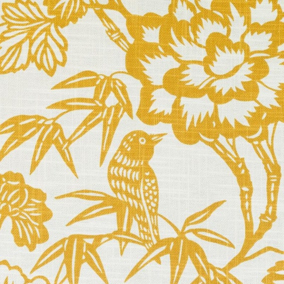 Modern Bird Upholstery Fabric By The Yard Gold Linen Etsy