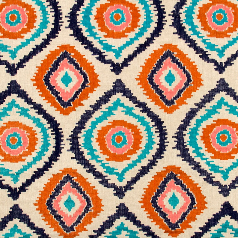 Cotton Velvet Curtain/upholstery Fabric Red/blueorange Per Metre More Available Antiques Linens & Textiles (pre-1930)