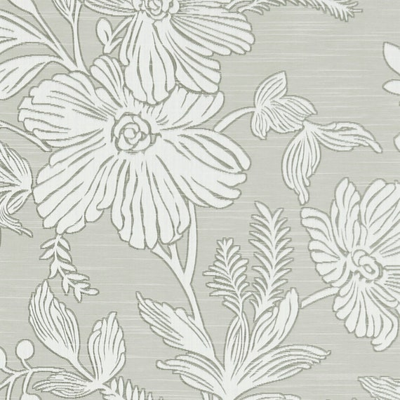 Taupe Floral Upholstery Fabric By The Yard White Floral Etsy