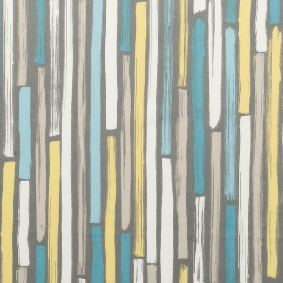 Modern Turquoise And Grey Upholstery Fabric Aqua Yellow Etsy