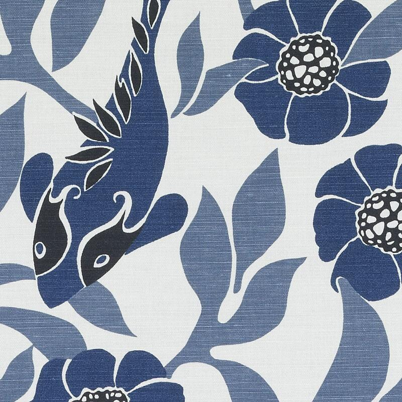 Navy Blue and White Drapery Fabric Blue Bird Curtain Fabric | Etsy