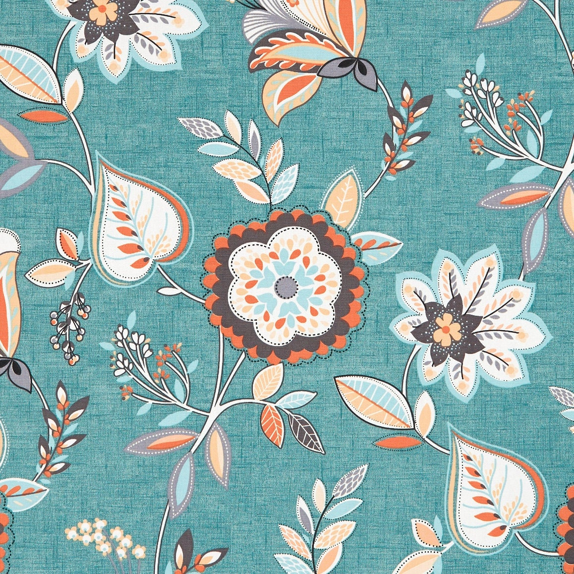 teal orange floral upholstery fabric light blue floral etsy. Black Bedroom Furniture Sets. Home Design Ideas